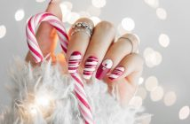 nail art natale 2018 linee bianco e rosso